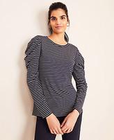 Ann Taylor Stripe Puff Shoulder Top
