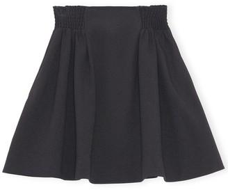 Ganni Heavy Crepe Elastic Waist Mini Skirt in Black