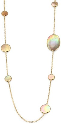Ippolita Polished Rock Candy Brown Shell & 18K Yellow Gold Station Necklace