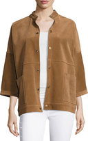 Current/Elliott The Fringed Oversized Suede Chore Jacket, Burnt Nutmeg