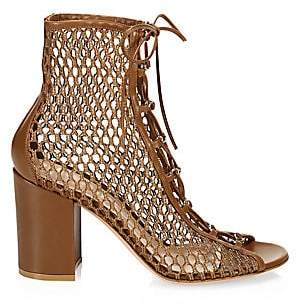Gianvito Rossi Women's Lace-Up Mesh Booties