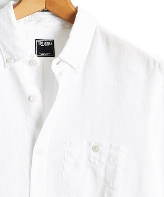 Todd Snyder Button Down Linen Shirt in White