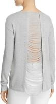 Aqua Distressed Slit-Back Sweater - 100% Exclusive