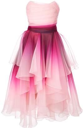 Marchesa ombré print dress