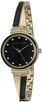 Anne Klein Women's AK/2216BKGB Swarovski Crystal Accented Gold-Tone and Black Bangle Watch