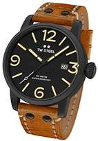 TW Steel Maverick Unisex Quartz Watch with Black Dial Analogue Display and Brown Leather Strap MS31
