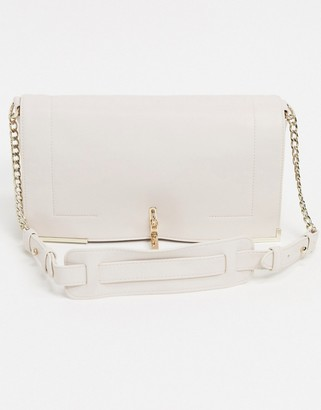 French Connection cross body bag with gold hardware in natural