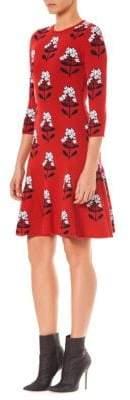 Carolina Herrera Floral Knit A-Line Dress