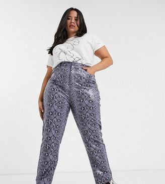Daisy Street Plus straight leg pants in snake print pu