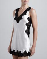 Neiman Marcus Lace-Trim Silk Chemise, Champagne/Black