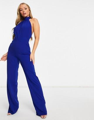 Vesper high neck wide leg open back jumpsuit in cobalt