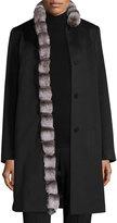 Fleurette Wool Coat w/ Rabbit Fur Trim, Black