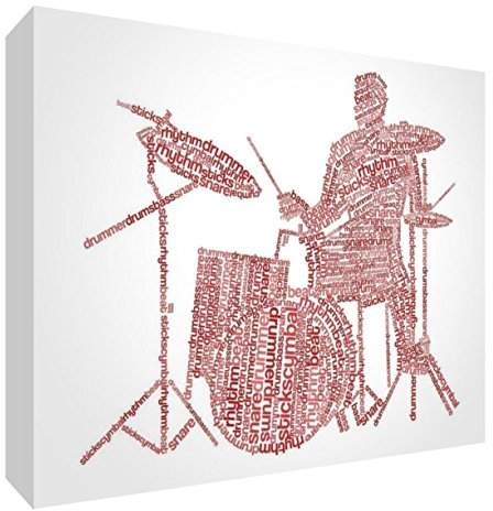 Camilla And Marc Feel Good Art Premium Gallery-Wrapped Box Canvas with Solid Front Panel in Unique Typographic Male Drummer Design, Red Tones, X-Large, 90 x 60 x 3 cm