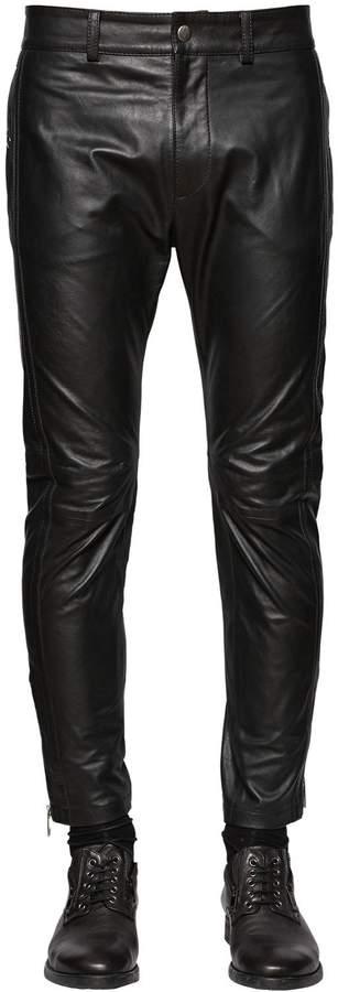 Diesel Slim Fit Cropped Nappa Leather Pants