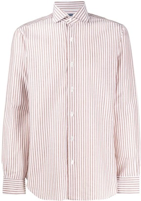 Barba Spread-Collar Striped Shirt