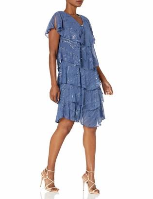SL Fashions Women's Tiered Pebble Dress (Petite and Regular Sizes)