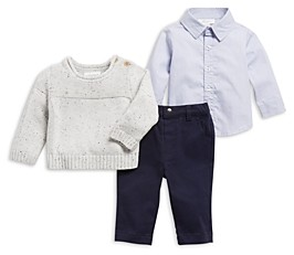 Miniclasix Boys' Sweater, Button Up Shirt & Pants Set - Baby