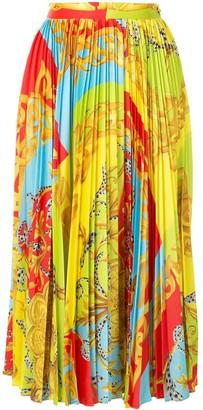 Versace Summer Capsule print pleated midi skirt