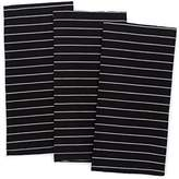 Pacific Home Soft Weave Premium 100% Cotton Kitchen Dish Towels (Black/Cream)