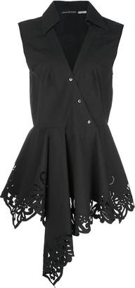 Josie Natori V-neck poplin blouse