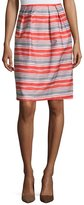 Lafayette 148 New York Striped Pleated-Front Skirt, Flare Multi