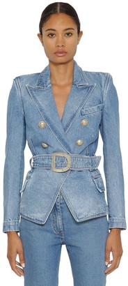 Balmain Double Breasted Cotton Denim Jacket