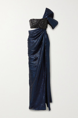 Oscar de la Renta Draped Crystal-embellished Silk-blend Lame Gown - Midnight blue