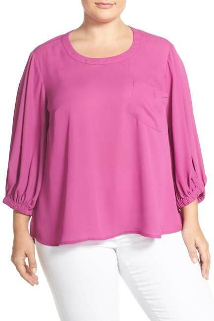 Melissa McCarthy Puff Sleeve Blouse (Plus Size)