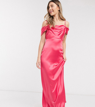 Flounce London exclusive satin maxi slip dress with drape shoulder in bright coral