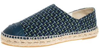 Chanel Multicolor Tweed And Leather CC Cap Toe Espadrille Flats Size 41