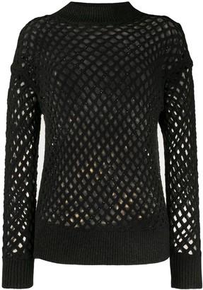 Fabiana Filippi long sleeve fishnet knit top