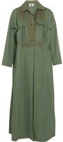 Topshop Unique - Redford Oversized Cotton Canvas-paneled Twill Trench Coat - Army green