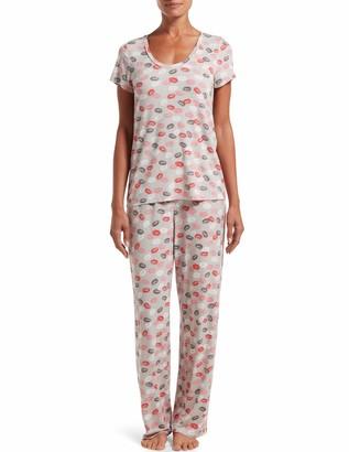 Hue Women's Printed Knit Short Sleeve Tee and Long Pant 2 Piece Pajama Set