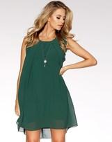 Quiz Frill Shoulder Necklace Tunic Dress