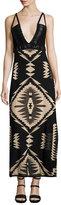 Ralph Lauren Southwestern Jacquard Cami Gown, Black Pattern