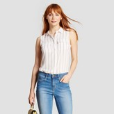 Who What Wear Women's Sleeveless Button Up