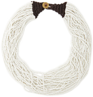 Kenneth Jay Lane Knit-trimmed Beaded Necklace