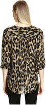 Joe Fresh Women's Leopard Silk Tunic, Brown (Size M)
