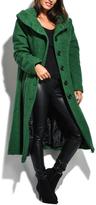 Everest Green Hooded Wool-Blend Mid-Length Coat