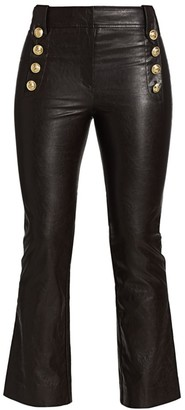 Derek Lam 10 Crosby Corinna Faux Leather Kick Flare Cropped Pants