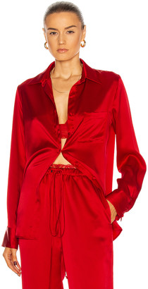 LaQuan Smith for FWRD Classic Oversized Button Down Shirt in Red | FWRD