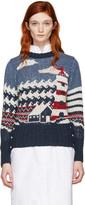 Thom Browne Tricolor Crewneck Graphic Sweater