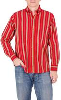 Men's Red Cotton Long Sleeve Shirt from Guatemala, 'Volcano of Fire'