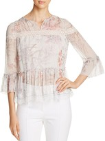Elie Tahari Shamra Lace Trim Floral Silk Blouse
