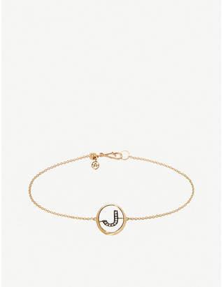 Annoushka 18ct yellow gold and diamond Initial J bracelet