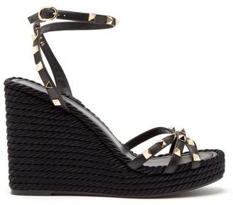 Valentino Torchon Rockstud Leather Wedge Sandals - Womens - Black