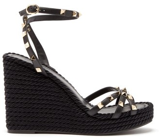 Valentino Torchon Rockstud Leather Wedge Sandals - Womens - Black