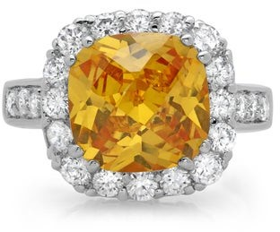Roberto Martinez Silver Fancy Yellow Chessboard Cubic Zirconia Cocktail Ring