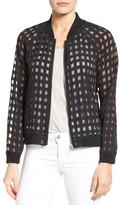 Petite Women's Halogen Sheer Grid Bomber Jacket