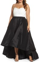 Mac Duggal Plus Size Women's Embellished Lace & Taffeta Strapless High/low Gown